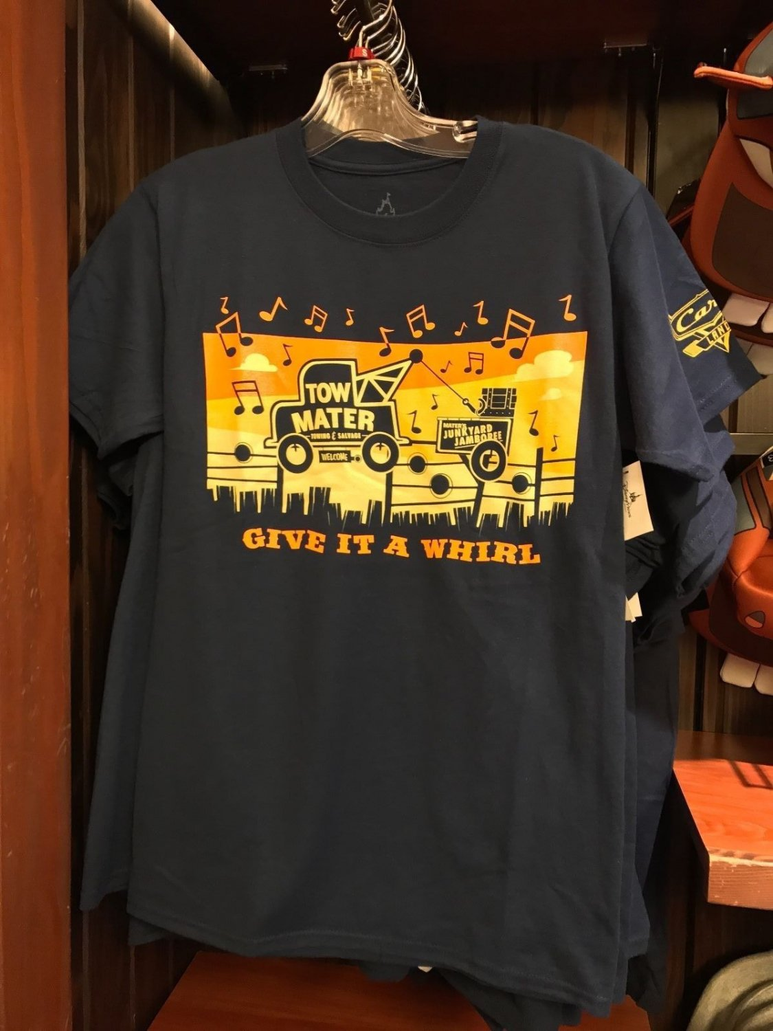 DISNEY PARKS DCA CARS LAND TOW MATERS GIVE IT A WHIRL RADIATOR SPRINGS SHIRT NEW