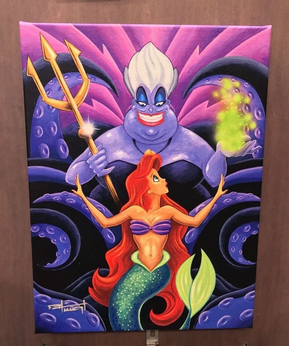 Disney Parks Little Mermaid Ariel & Ursula The Whisper Giclee by Mike Kungl New