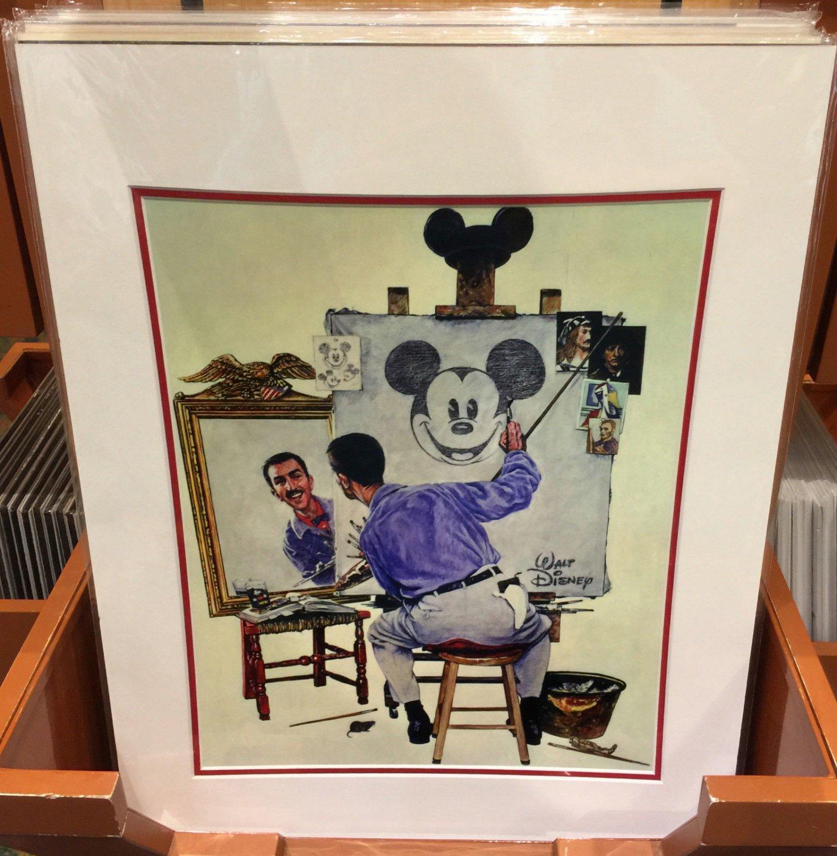 Disney Parks Walt Disney & Mickey Mouse Self Portrait Deluxe Print New