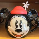 Disney Parks Minnie Mouse Face Ceramic Mug with Lid New