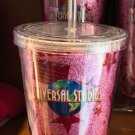 Universal Studios Exclusive Travel Tumbler with Straw Pink Cup New