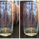 Universal Studios Exclusive Harry Potter Deathly Hallows Tall Glass Cup Set of 2