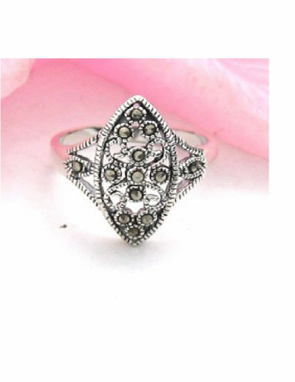RX-6002      Handmade Silver, Marcasite Ring