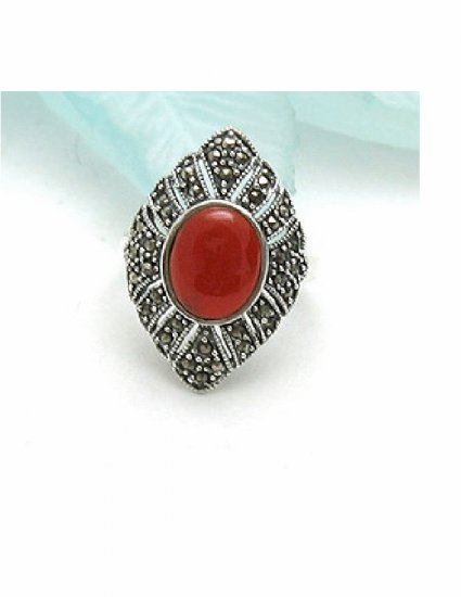 RX-6001      Handmade Silver, Marcasite, Agate Ring