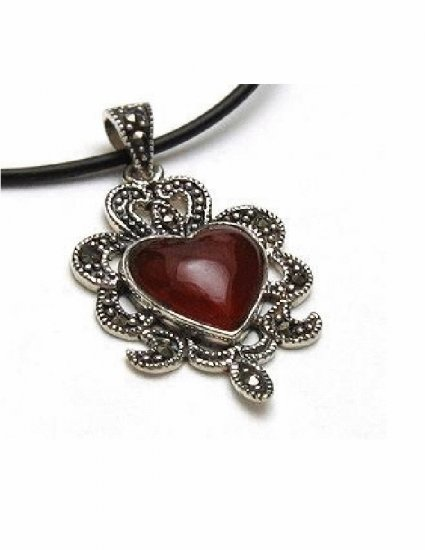 PX-9003      Handmade Silver, Marcasite, Agate Pendant