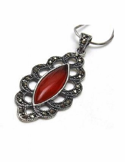 PX-9002      Handmade Silver, Marcasite, Agate Pendant