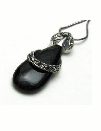 PX-9001      Handmade Silver, Marcasite, Agate Pendant