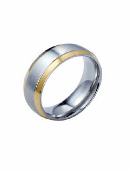 Free shipping--Gold-Plated and Stainless Steel  2-Tone Band Ring