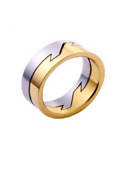 Free shipping--Gold-Plated and  Stainless Steel 2-Tone  Band Ring.