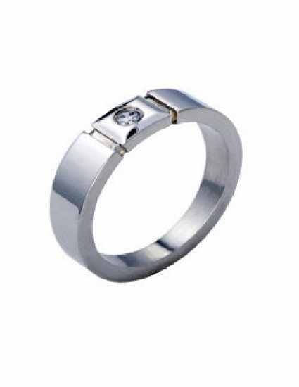 Free shipping--Stainless Steel CZ Band Ring