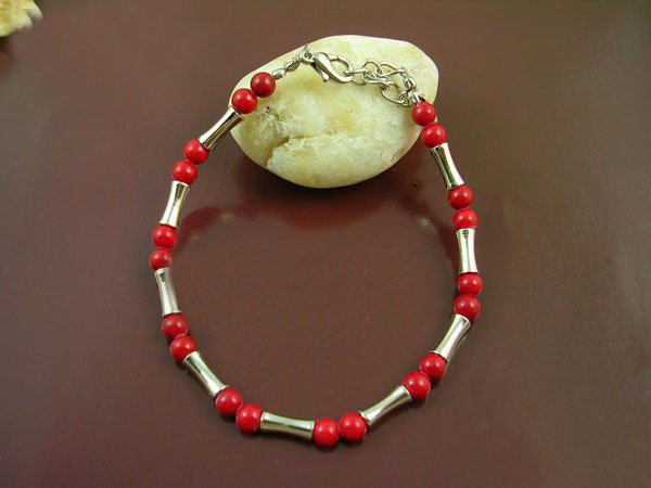 Free shipping---Coral Beads, Tibet Silver Bracelet