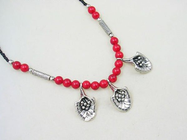 DSCN-5585     Coral Beads, Tibet Silver Necklace
