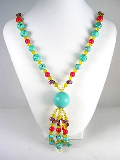 DSCN-0358  Turquoise, Coral, Garnet, Crystal Necklace