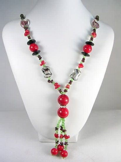 Free shipping---Coral, Garnet, Crystal Beads Necklace