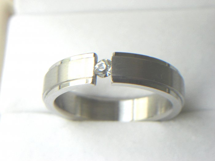 Free shipping--Stainless Steel CZ Wedding Band Ring
