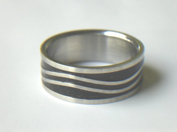 Free shipping--Stainless Steel  2-Tone Band Ring