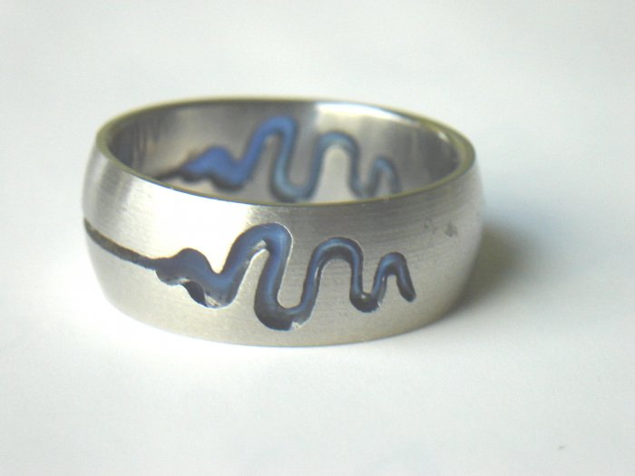 Free shipping--Stainless Steel Laser Cut And Tattoo Ring