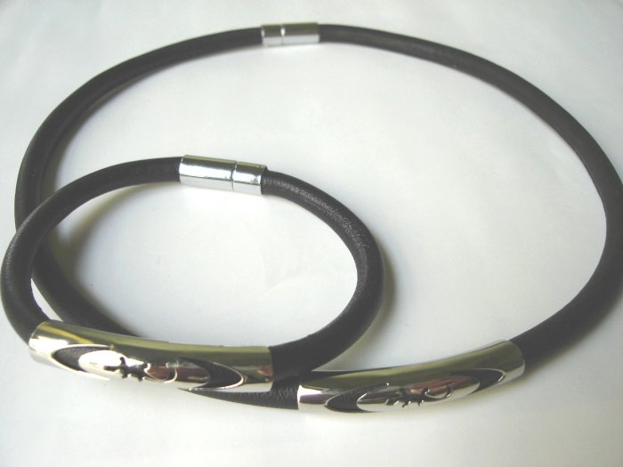 Free shipping--Stainless Steel & Genuine Leather Jewelry set