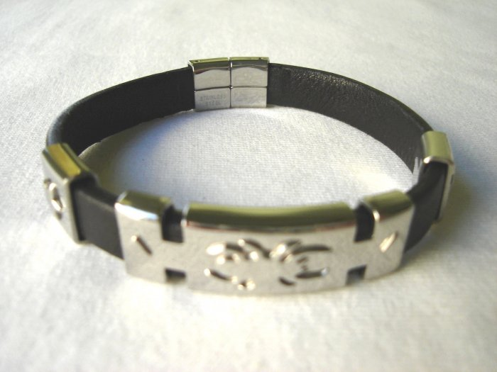 BHY-6011     Stainless Steel & Genuine Leather Bracelet