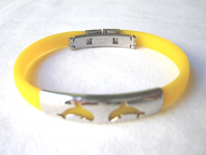 BHY-2033   Stainless Steel And Rubber Bracelet