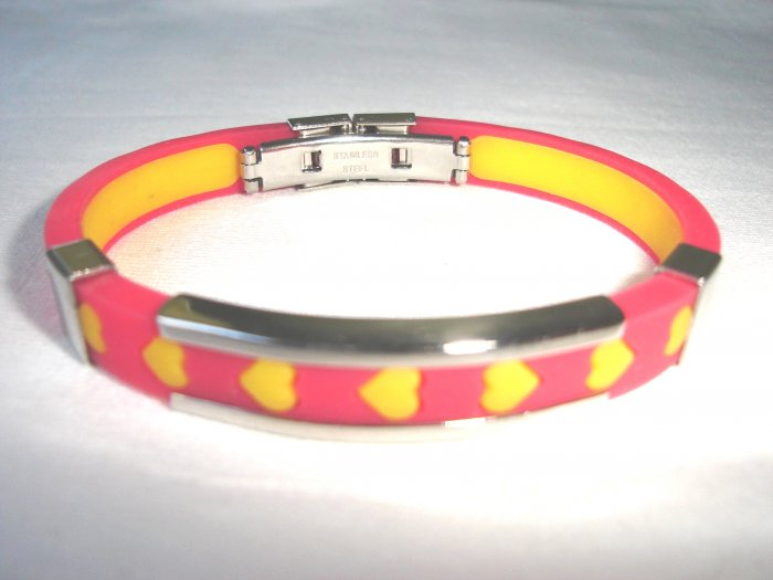 BHY-2024    Stainless Steel And Rubber Bracelet