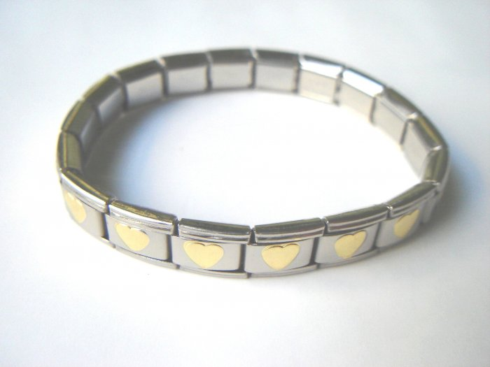 Free shipping--Steel And Goldtone 2-Tone Stretch  Bracelet 4 Pcs/Lot