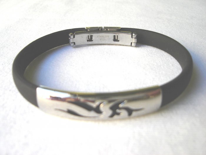 BHY-2034   Stainless Steel And Rubber Bracelet