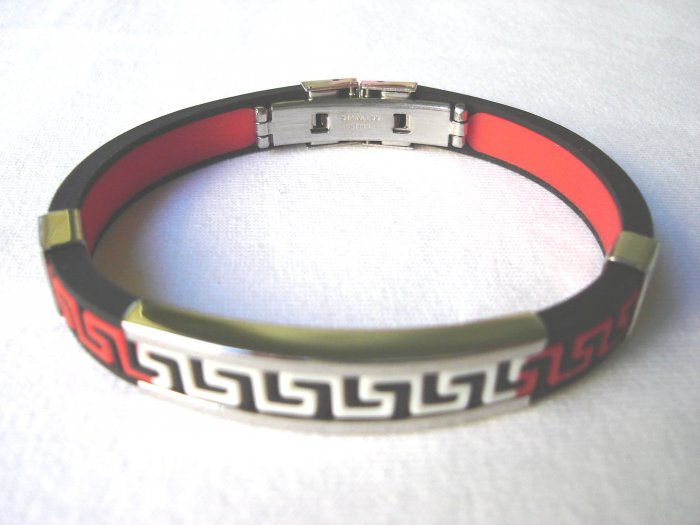 BHY-2026    Stainless Steel And Rubber Bracelet
