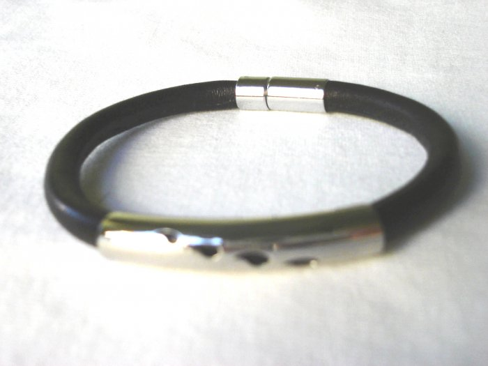 Free shipping--Stainless Steel & Genuine Leather Bracelet