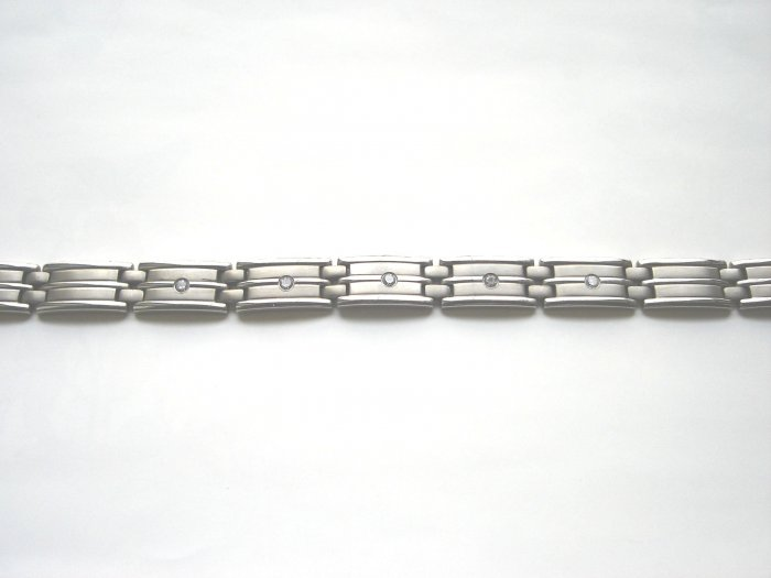 BHD-8007     Titanium and CZ Bracelet