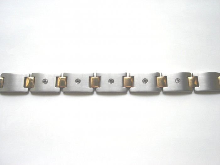 BHD-8004   Titanium and  Gold-Plated 2-Tone  CZ Bracelet