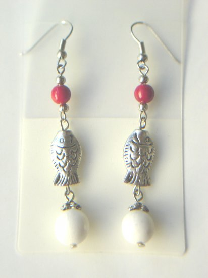ESP-6801     Coral Beads, Tibet Silver Earrings
