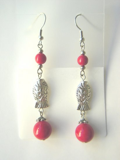 ESP-6802     Coral Beads, Tibet Silver Earrings