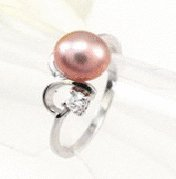 Free shipping---Silver, Pearl and CZ Ring