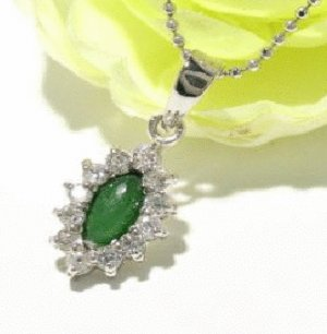 Free shipping---Silver, Jade, CZ Pendant