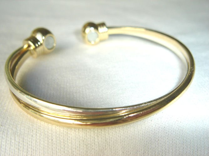 BWT-8004 Stainless Steel and Goldtone 2-Tone Cuff Bracelet