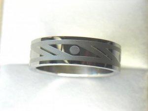 Free shipping--Stainless Steel Geometric Pattern Wedding Ring