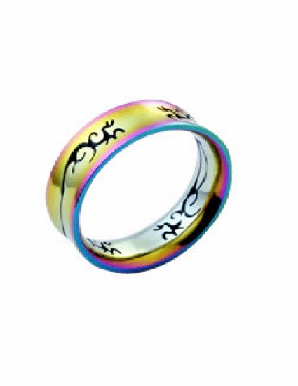 Free shipping--Stainless Steel Laser Cut Rainbow Color Ring