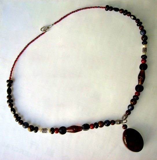 HDGN-0100   Jasper, Tiger eye, Coloured Glaze Beads Necklace