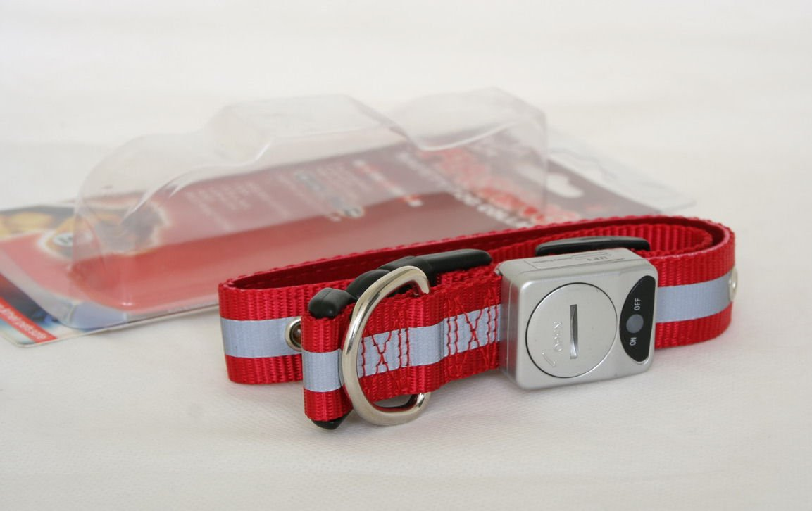 Free shipping--Led Flashing Pet Collar Fluorescent nylon webbing (Large)