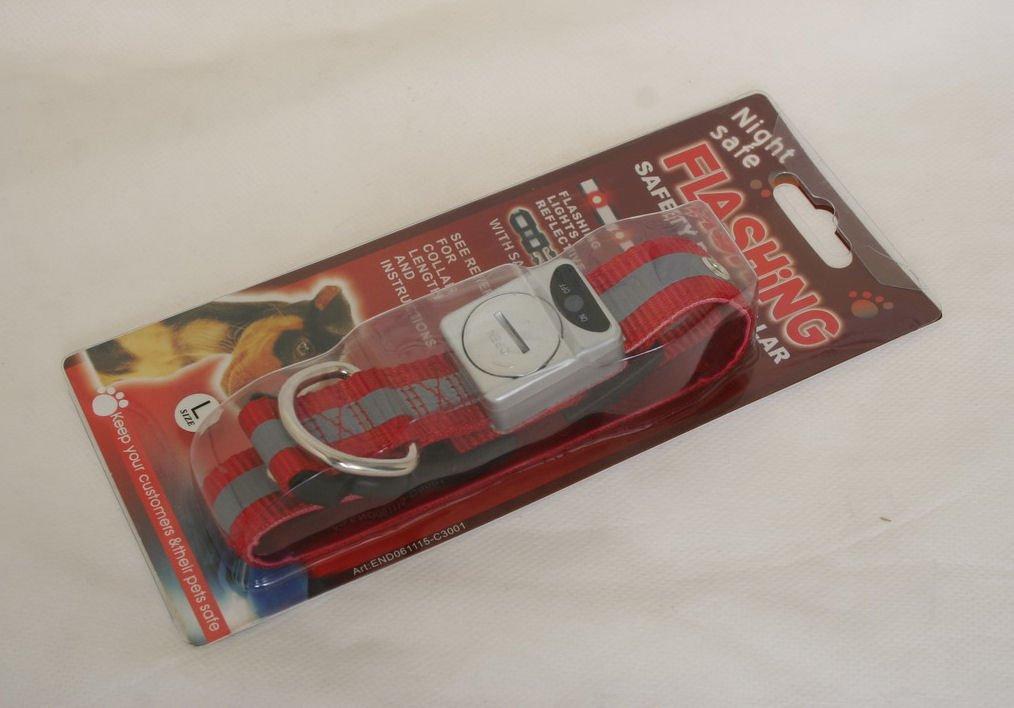 Free shipping--Led Flashing Pet Collar Fluorescent nylon webbing (Large) 6 pcs/lot