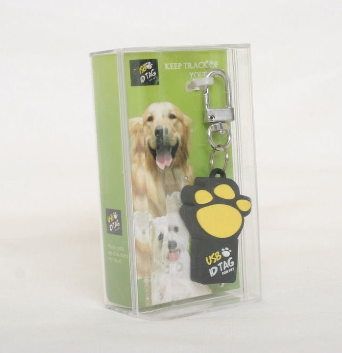 Free Shipping-USB Flash Drive Pet ID Tag 1 GB Flash Memory Capacity Pet Paw Design