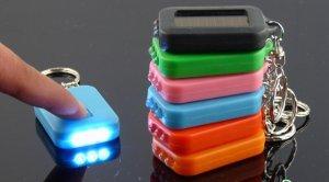 Free Shipping--6 pcs/lot rechargable solar mini LED flash light key chain light with solar panel