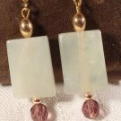 VINTAGE 70s GOLD FILLED CARVED JADE AMETHYST QUARTZ RHINESTONE DROP EARRINGS