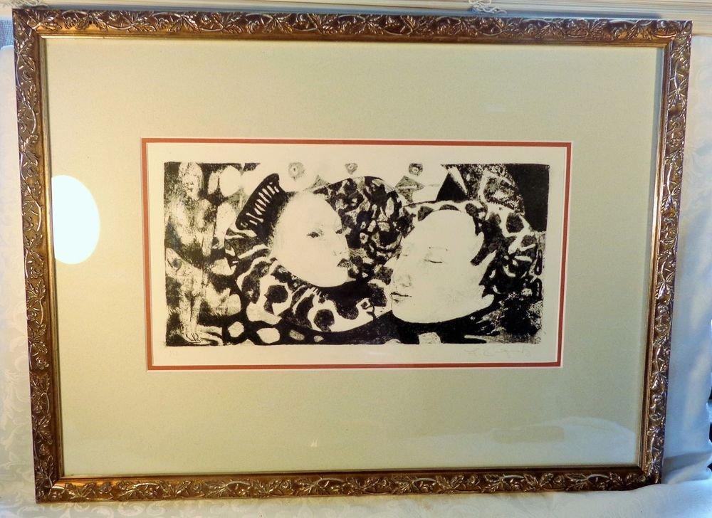 VINTAGE FRAMED ASIAN INK BLOCK PRINT SGD L REGENTZ? ABSTRACT MODERNIST 1/12 BLOC