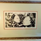 VINTAGE FRAMED ASIAN INK BLOCK PRINT SGD L REGENTZ? ABSTRACT MODERNIST 1/12 BLOC