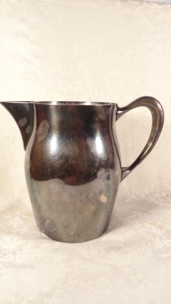 VINTAGE W&S BLACK FINEST SILVER PLATE WATER PITCHER SUPERB QUALITY 2PINTS