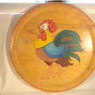 VINTAGE 50s HAND PAINTED ROOSTER CHICKEN WOODEN PLAQUE WALL ART PLATE FOLK ART