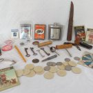 VINTAGE MENS JUNK DRAWER LOT KNIFES MEDALS POLITICAL PINS BUTTON TOOLS CORKSCREW
