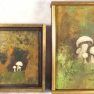 EARLY VINTAGE SET 2 OIL PAINTINGS FRAMED MARY ROSS FOREST FAMILY FLOWER OF WOODS